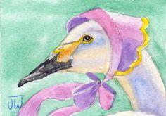 Swan in a pink bonnet