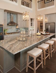 Live Love in the Home: Today's Popular Interior Design Photos - Kitchen Collection kitchen island idea ; Beautiful Kitchens, Cool Kitchens, Modern Kitchens, Dream Kitchens, 2017 Kitchens, Luxury Kitchens, White Granite Colors, Light Colored Granite, Sweet Home