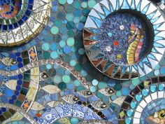 Shoal of engraved mirror fish and seahorse. Detail of UNDERWATER mosaic by Joann van Heerden.