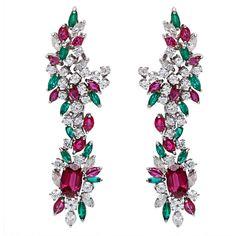 18k White Gold 5 1/2ct TDW Diamond and Gemstone Dangling Estate Earrings (G-H, SI1-SI2)