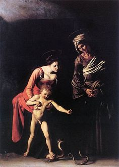 The Madonna and the Serpent by Caravaggio, Galleria Borghese, Rome. The lighting on the Madonna and Christ child is superb, as they step into the light. The Madonna is strong, sensual, and completely focused on the child. Notice how she is actually the one placing her foot on the snake to protect her child.