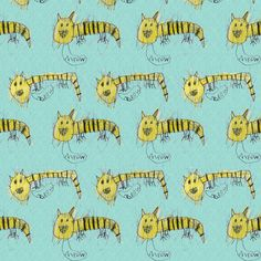 Bubbie's tiger cats fabric by weavingmajor on Spoonflower - custom fabric