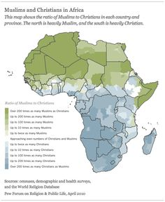 Ratio of Muslims to Christians in Africa  Source: http://pewforum.org