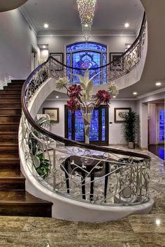 Ideas house entrance architecture grand staircase for 2020 Grand Staircase, Staircase Design, Staircase Ideas, Luxury Staircase, Stair Design, Black Staircase, Curved Staircase, Hotel Decor, Luxury Living