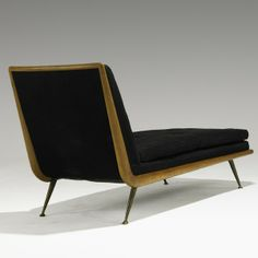 // T.H. Robsjohn-Gibbings; Mahogany and Brass Chaise Longue for Widdicomb, 1950s.