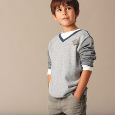 Grey stylish outfit for a little boy... the toothpick flag makes it!