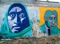 I found this picture from a photoblog online about Barcelona street art, it was taken a few years ago. I find this piece to be extremely interesting because it is one of the first times I am seeing a woman in street art that is not white. While she is painted in shades of blue and green, it is apparent that she is of some Muslim descent due to her head scarf. The color and the furrow in her brow suggests that she seems to be concerned or worried.