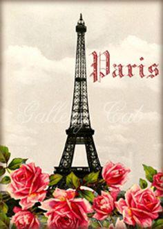 Paris Romance whimsical altered art digital collage sheet