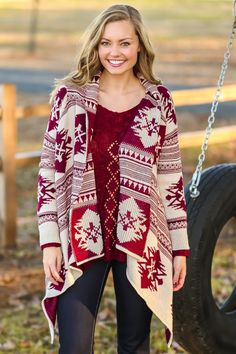Scaling The Alps Cardigan-Burgundy