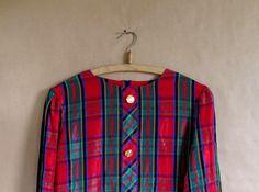 80's Vintage PAPER THIN Rainbow Plaid Blouse/ Dolman by vintachi, $14.99