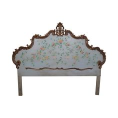 """Custom Quality Vintage French Louis XV Style Painted & Partial Gilt King Size Headboard  AGE/COUNTRY OF ORIGIN: Approx 60 years, America DETAILS/DESCRIPTION: High quality, vintage, custom paint decorated, king size headboard with gold painted trim & floral painted back. Can easily attach to a king size bed frame.  CONDITION REPORT: Louis XV style, clean vintage condition. MEASUREMENTS: H: 68.5"""" x W: 86"""" x D: 4"""""""