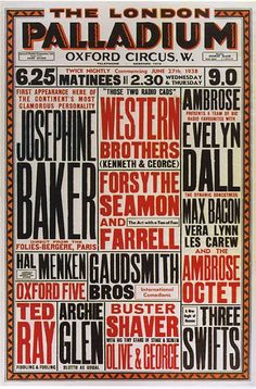 Vintage Theatre Poster - The London Palladium - 27 June 1938 josephine baker Josephine Baker, Vintage Type, Vintage Ads, Concert Posters, Theatre Posters, Arts Theatre, Poster Festival, Vera Lynn, Poster Art
