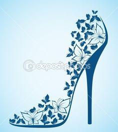 Yüksek topuk ayakkabı'dan güzel kelebekler. vektör — Stok İllüstrasyon #7196106