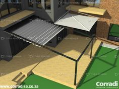 This design for a client in Pretoria, South Africa.Different options were submitted (also available to see here). A Pergola or shade sail to cover this area is an absolute necessity, as the summers get very hot. In this option one Corradi Pergotenda Iridium structure with retractable roof is shown. The anthracite colour matches the existing window frames. In addition a retractable Corradi Condor sail awning covers the entrance to the patio, creating an interesting variation and contrast.