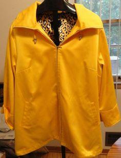 DENNIS BASSO Bright Yellow Jacket Rain Coat w/Hood Sz 3x Cheetah Print Lined #DennisBasso #BasicCoat