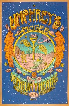 "Umphrey's McGee - silkscreen concert poster (click image for more detail) Artist: David Welker Venue: Orpheum Theatre Location: Madison, WI Concert Date: 2/16/2013 Size: 13"" x 20"" Edition: Artist Edit"