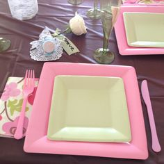 Table setting for cherry blossom themed engagement party