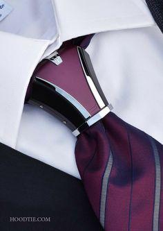 Hoodtie – The new luxury tie accessory for bold men. Haston II Model, Burgundy & Black Hoodtie – The new luxury tie accessory for bold men. Mens Fashion Suits, Mens Suits, Men's Fashion, Fashion Trends, Style Costume Homme, Tie A Necktie, Luxury Ties, Tie Accessories, Sharp Dressed Man