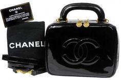 Vintage Chanel Bag Black Patent 2way CC Shoulder Bag Vanity