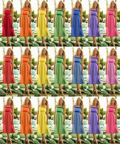 Its not easy finding the same dress in seven colors Rainbow Bridesmaid Dresses, Bridesmaid Dresses Different Colors, Bridesmaid Flowers, Bridesmaid Inspiration, Wedding Inspiration, Wedding Ideas, Wedding Stuff, Rainbow Wedding, Bride Book