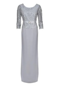 Sonia Pena Full Length Dress, Silver H8293 Available at #RitcheBridal Toronto