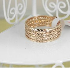 YR131 Gold Concise Multi Ring 18K Rose Gold by BlueroseFashion, €6.50