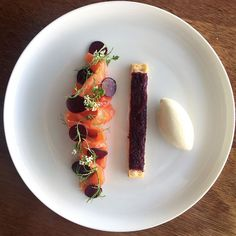 Gin cured salmon and beetroot.