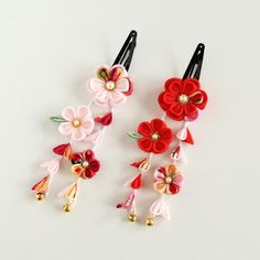 下がり付ぱっちん留め(ピンク) 七五三・浴衣・和装・成人・卒業 Ribbon Art, Diy Ribbon, Ribbon Crafts, Japan Crafts, Kanzashi Tutorial, Crochet Flower Tutorial, Kanzashi Flowers, Making Hair Bows, Fabric Beads