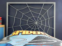 SOOOOOO AWESOME!!! If we ever decide to do a spider man or even an insect/outdoor theme, this is definitely my pick!!! - Spider Web Bed Headboard by FunkyLivingCA on Etsy, $475.00