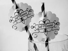 Wedding Paper Straws and Flags  12 Total by Simplycutestuff, $6.00