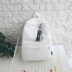 Tips: *Please double check above size and Students canvas backpack Cute Backpacks For School, Cute School Bags, Cute School Supplies, White Backpack, Diy Backpack, Backpack For Teens, Adidas Backpack, Aesthetic Backpack, Aesthetic Bags