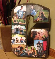 Burn the edges of printed out family pictures and glue onto a spray painted metal (or wooden) letter of the family last name! Such a simple way to display lots of pictures.  (Credit to Colton for making this for the fair this year!)