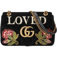 42612b586cbf Gucci Gg Marmont Embroidered Velvet Bag (7.275 BRL) ❤ liked on Polyvore  featuring bags