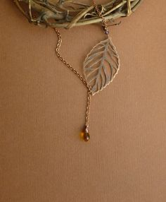 Antiqued+Copper+Woodland+Leaf+and+Amber+by+tinycottagetreasures,+$16.00