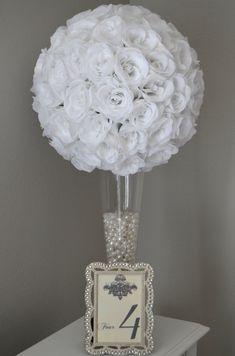 WHITE flower ball  WEDDING CENTERPIECE Premium by KimeeKouture