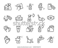 Disinfection Cleaning Icon Set Collection Linear Stock Vector (Royalty Free) 1696765678 Cleaning Icons, Icon Set, Flyer Template, Icon Design, Royalty Free Stock Photos, Outline, Templates, Image, Collection