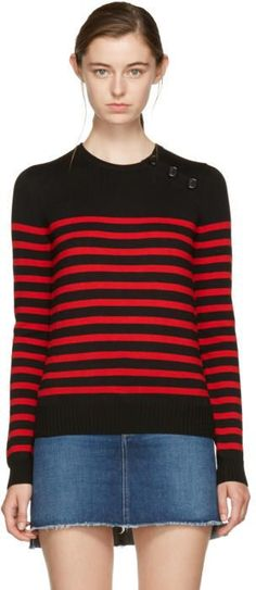 Saint Laurent Black and Red Striped Marinière Sweater