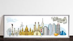 Barcelona skyline with some of the most famous monuments - 150 x 50 cm