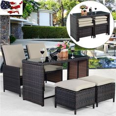 5PCS Brown Cushioned Ottoman Rattan Patio Set Outdoor Garden Furniture New US (item_by#loonghead it#326252485176160. issue regarding this listing , pls contact me - 5PCS Brown Cushioned Ottoman Rattan Patio Set Outdoor Garden Furniture New US (item_by#loonghead it#326252485176160.