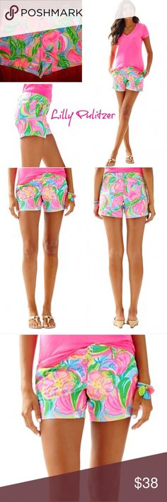 Lilly Pulitzer callahan so-a-peeling shorts 4 NWT Brand new with tags! Size 4. Print: so-a-peeling. Callahan short style. Very bright and beautiful! Lilly Pulitzer Shorts