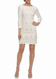 Adrianna Papell  Back Zip Lace Sheath Dress