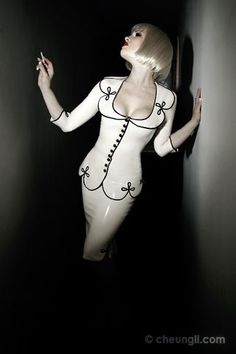 White latex two piece by Breathless