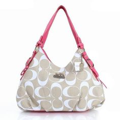 #CheapCoach Authentic Coach Fashion Signature Medium Pink Ivory Shoulder Bags ERF With Well Designed Material And High Quality!