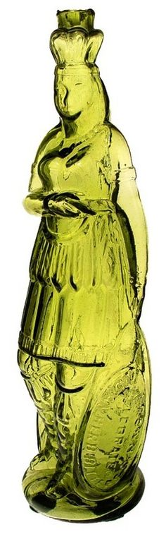 Brown's Celebrated Indian Herb Bitters, Indian Maiden, Green, 12 inch A biBrown's Celebrated Indian Herb Bittersib Indian Queen bottle in green