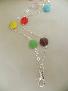 Rainbow Gum Drops Multi Colored Beaded ID Lanyard Necklace. SOLD, via Etsy.