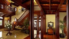 Lynn's idea of wood stained casement??? love the drama; not sure how it would look in my space... what about painted and airy in LR and more woods in family/pool table room?