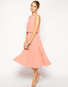 Image 4 of ASOS Midi Skater Dress with Pleated Skirt and Blouson Top