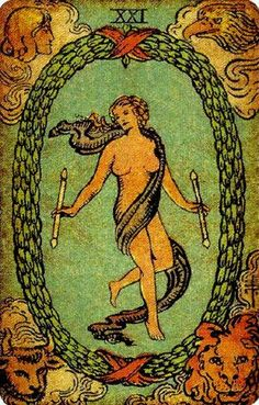 The World from Pamela's Vintage Tarot Deck. For a FREE E-book on Tarot Card Meanings on www.tarotwisdom.com.au