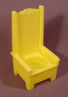 Fisher Price Vintage Yellow King's Throne With Tall Back, 993 Play Family Castle, 1974