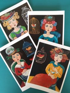 """""""Les Femmes Des Saisons"""" ;now available as Notecards! Mix and match Seasons, or fill up on your Favorite Season of the Year! 8 Cards/ Box, $24."""